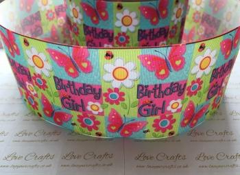 Birthday Girl Butterfly Grosgrain Ribbon