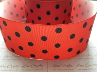 Black Polka Dot on Poppy Red Grosgrain Ribbon