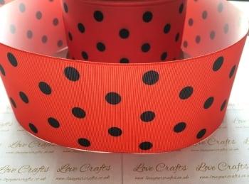 Black Polka Dot on Poppy Red Grosgrain Ribbon