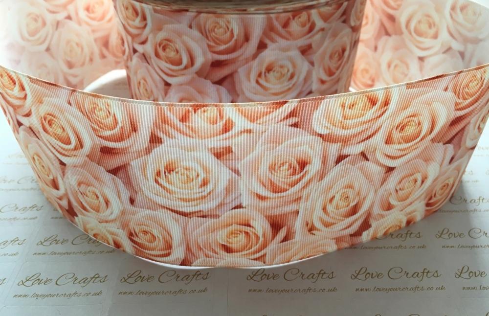 Peach Rose Grosgrain Ribbon