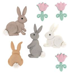 Dress It Up Buttons: Easter Cotton Tails