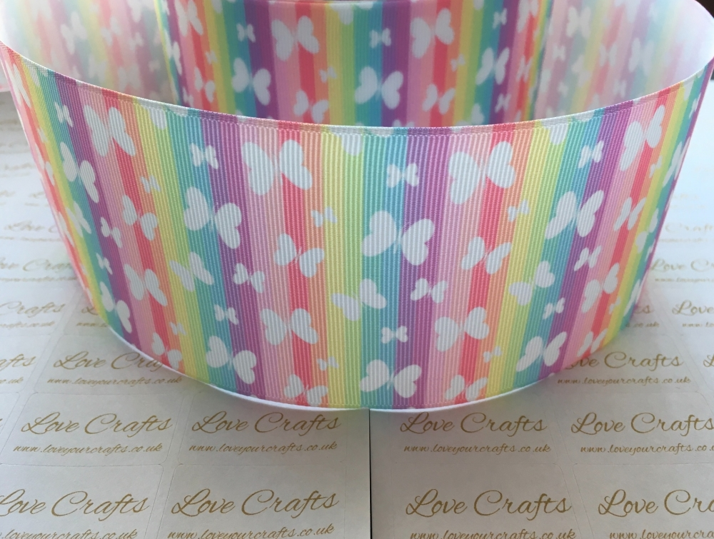 Butterflies on Rainbow Grosgrain Ribbon