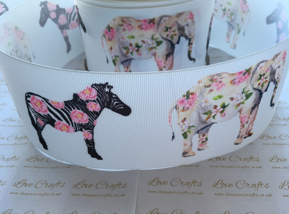 Floral Animals Grosgrain Ribbon
