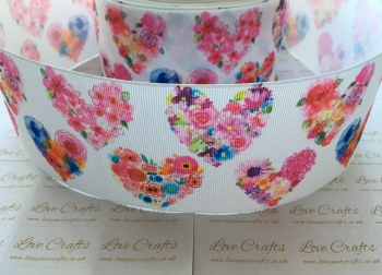 Floral Hearts Grosgrain Ribbon