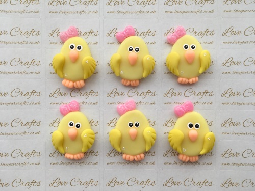 Chick Pink Bow Clay