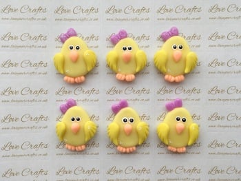 Chick Purple Bow Clay