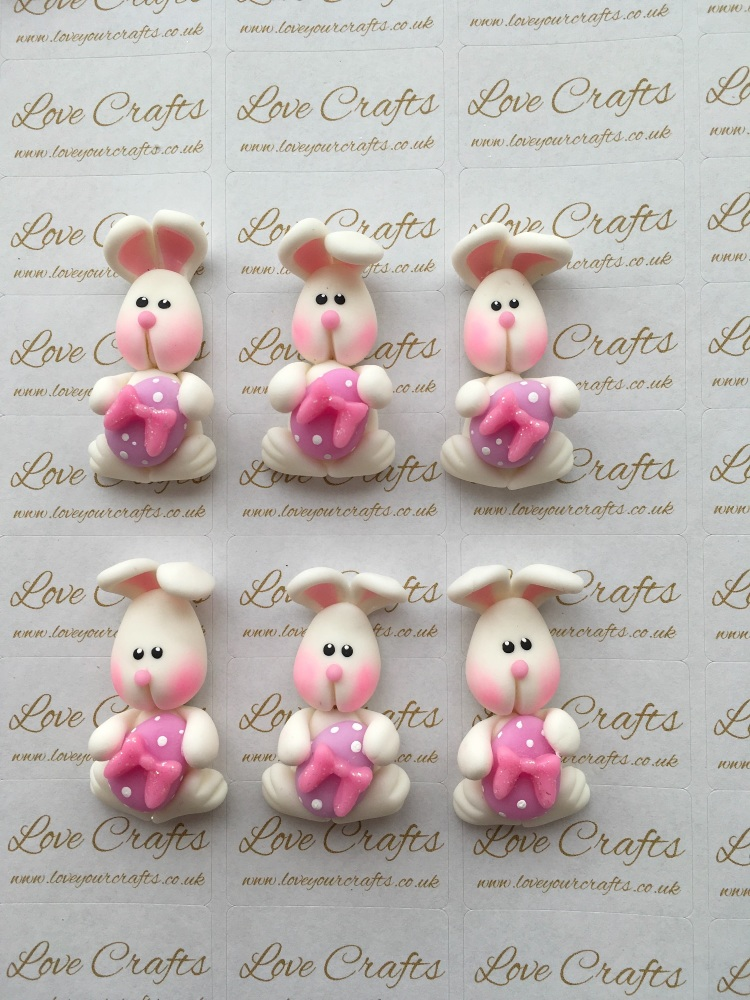 Easter Bunny Pink Bow Clay
