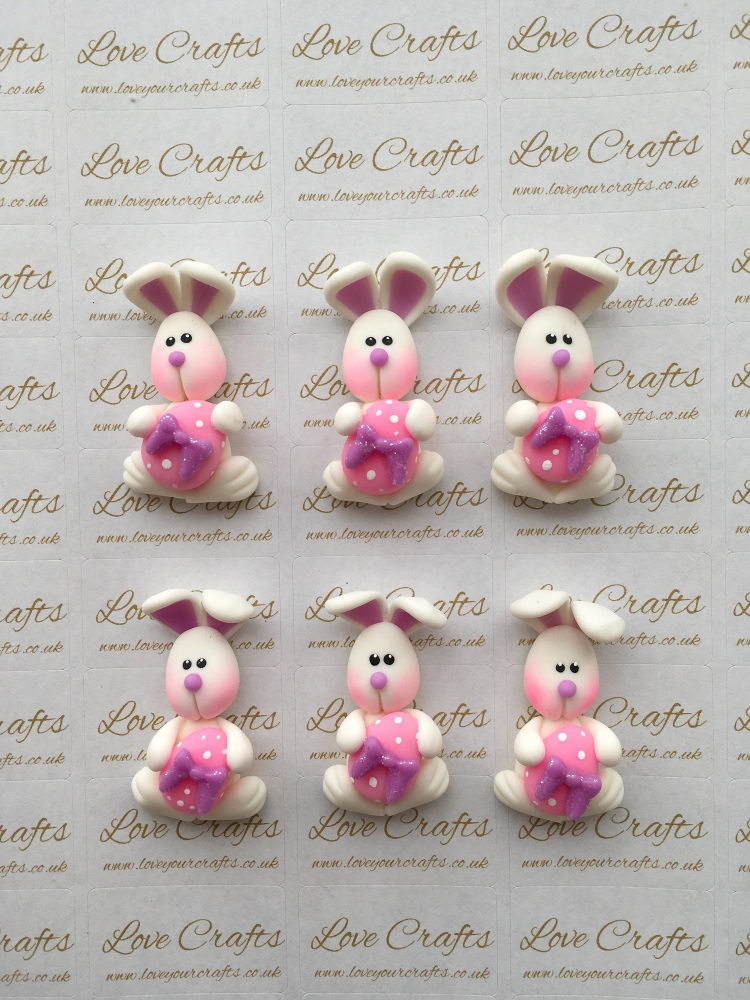 Easter Bunny Purple Bow Clay