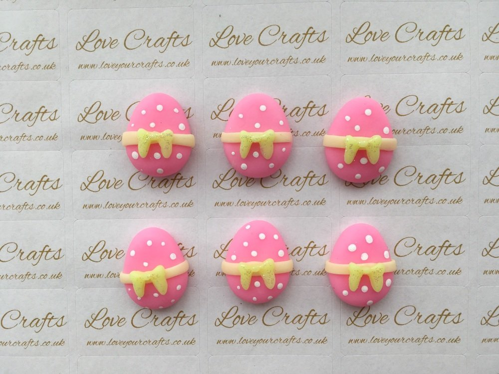 Easter Egg Pink with Yellow Bow Clay