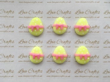 Easter Egg Yellow with Pink Bow Clay