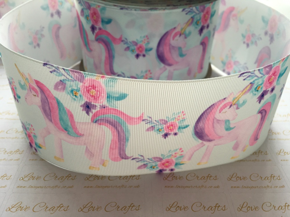 Spring Floral Unicorn Grosgrain Ribbon