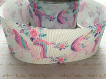 Spring Floral Unicorn Grosgrain Ribbon
