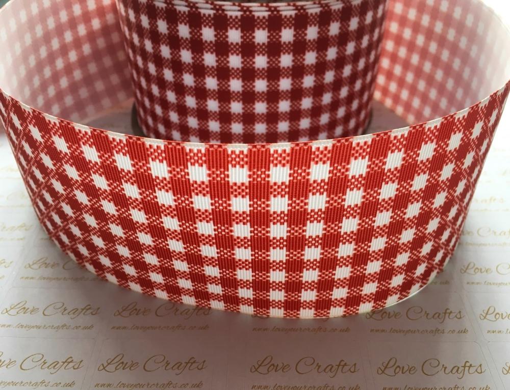 Red Gingham Check Grosgrain Ribbon