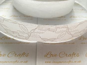 25mm White Ribbon Backed Lace