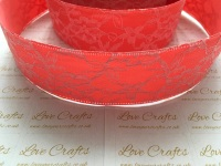 40mm Coral Ribbon Backed Lace