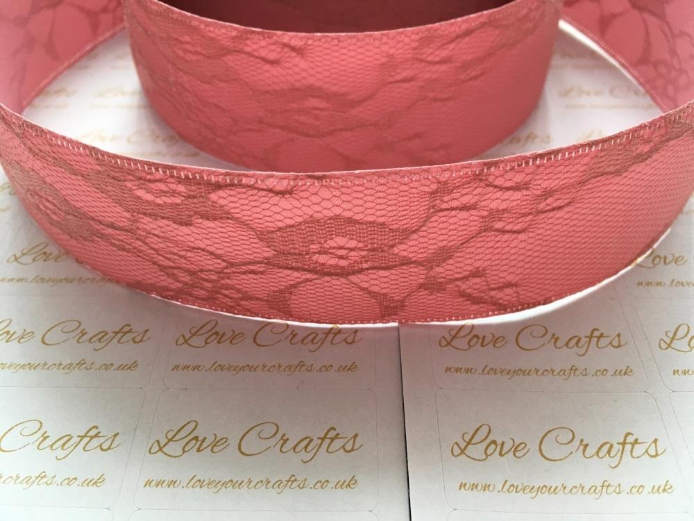 40mm Deep Rose Ribbon Backed Lace