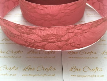 40mm Deep Rose Ribbon Backed Lace