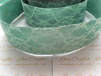 40mm Green Ribbon Backed Lace