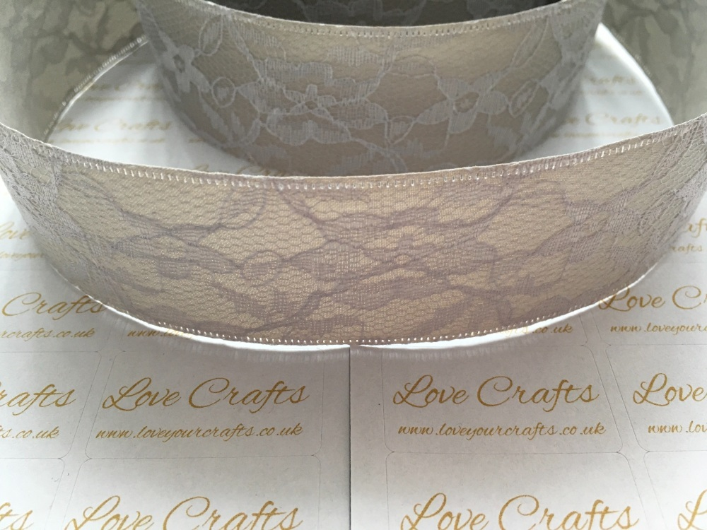 40mm Grey Ribbon Backed Lace