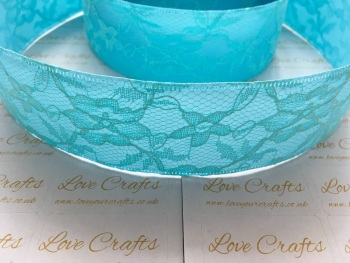 40mm Light Turquoise Ribbon Backed Lace