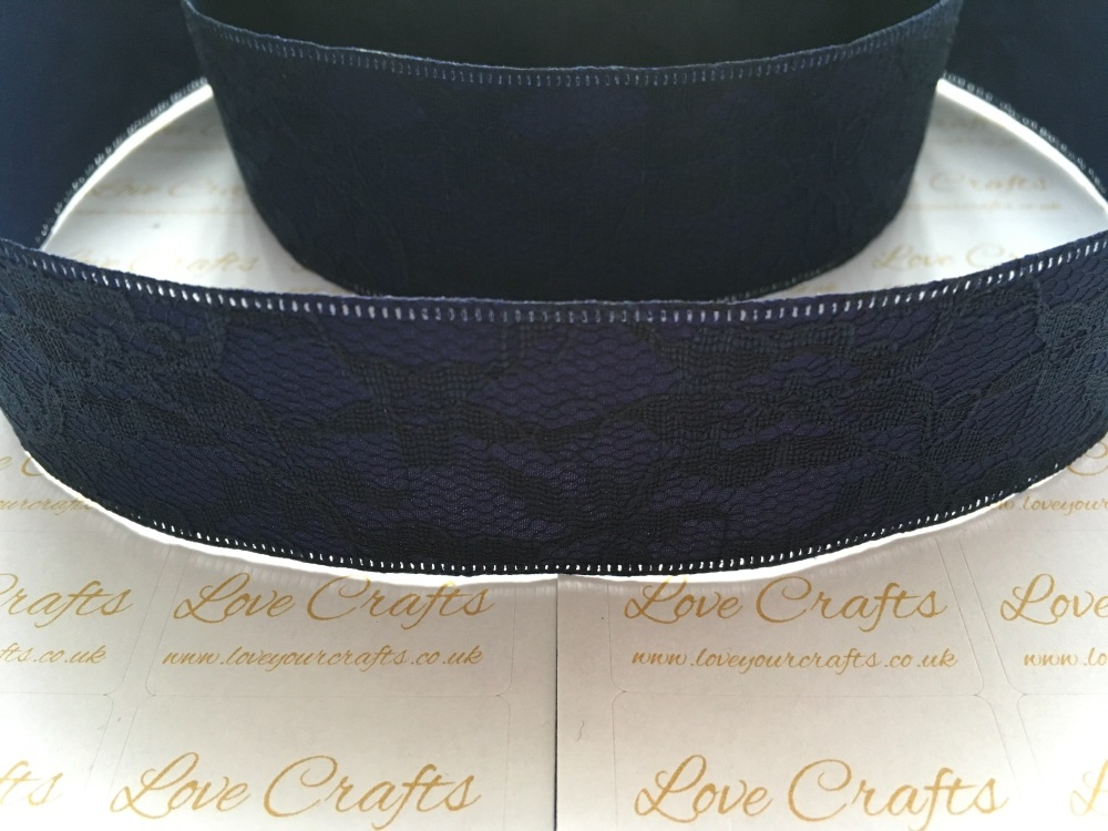 40mm Navy Ribbon Backed Lace