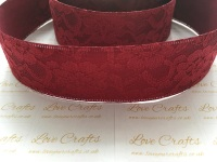 40mm Wine Ribbon Backed Lace