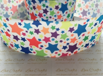 Colourful Stars Grosgrain Ribbon