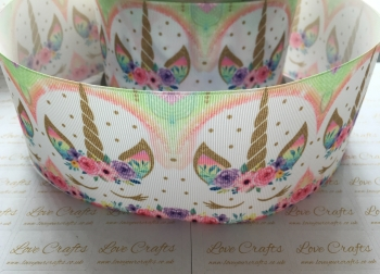 Pastel Rainbow Sleepy Unicorn Grosgrain Ribbon
