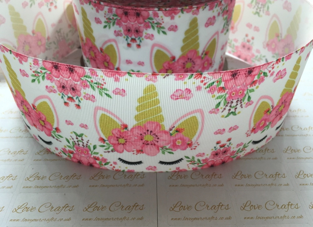 Pink Floral Sleepy Unicorn Grosgrain Ribbon