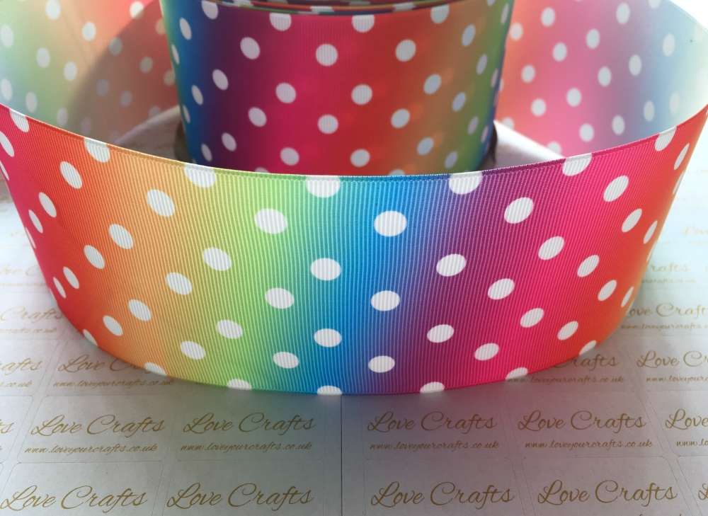 White Polka Dot on Bright Rainbow Ombre Grosgrain Ribbon