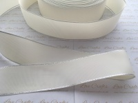 Antique White with Silver Edge Grosgrain Ribbon