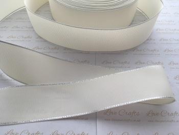 Antique White with Silver Edge Grosgrain Ribbon
