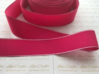 Azalea with Silver Edge Grosgrain Ribbon