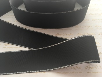 Black with Silver Edge Grosgrain Ribbon
