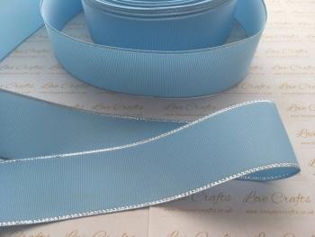 Blue Topaz with Silver Edge Grosgrain Ribbon