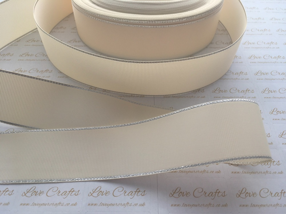 Cream with Silver Edge Grosgrain Ribbon