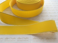 Daffodil with Silver Edge Grosgrain Ribbon