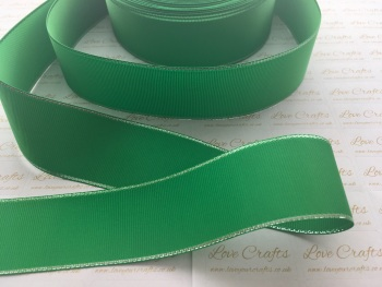 Emerald with Silver Edge Grosgrain Ribbon
