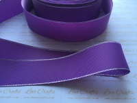 Grape with Silver Edge Grosgrain Ribbon