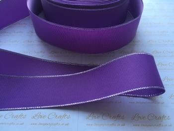 Grape with Silver Edge Grosgrain Ribbon