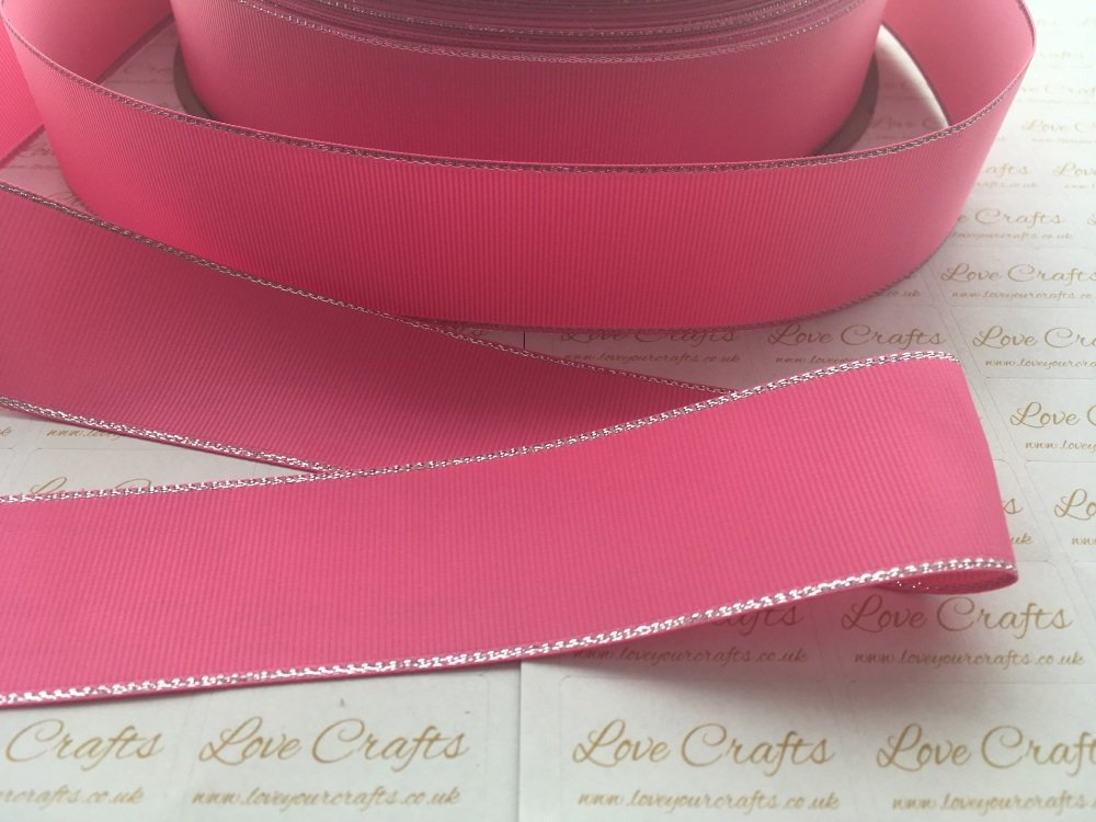 Hot Pink with Silver Edge Grosgrain Ribbon