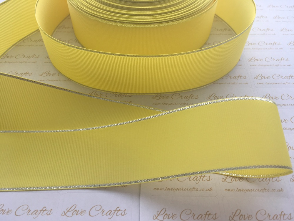 Lemon with Silver Edge Grosgrain Ribbon