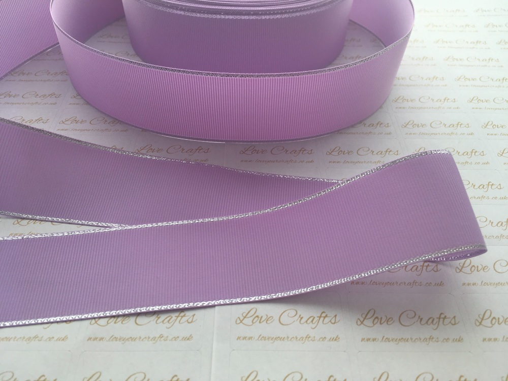 Light Orchid with Silver Edge Grosgrain Ribbon