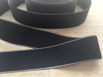 Navy with Silver Edge Grosgrain Ribbon