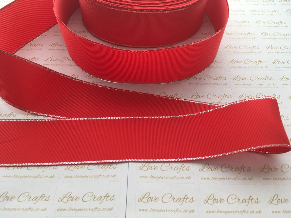 Poppy Red with Silver Edge Grosgrain Ribbon