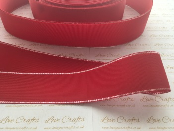 Red with Silver Edge Grosgrain Ribbon