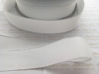 White with Silver Edge Grosgrain Ribbon