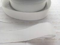 White with Silver Edge Grosgrain Ribbon