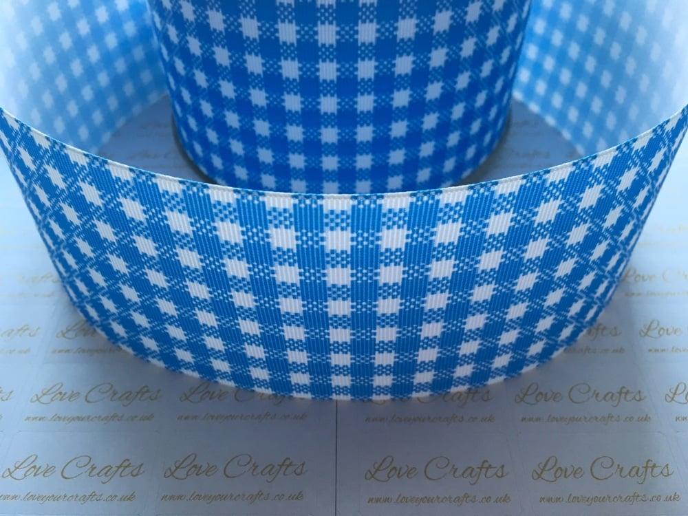 Mid Blue Gingham Check Grosgrain Ribbon