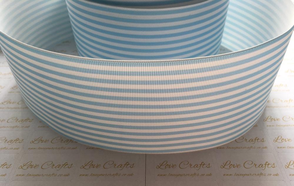 Blue Topaz Pinstripe Grosgrain Ribbon